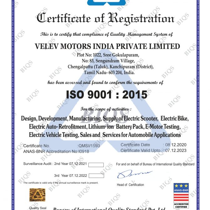 Electric Scooter Certificate